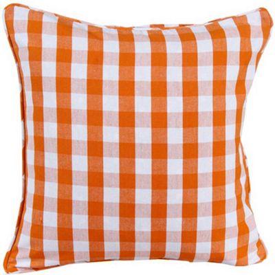 Homescapes Cotton Block Check Orange Cushion Cover, 60 x 60 cm