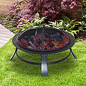 "Outsunny 30"" Round Metal Fire Pit Backyard Stove Patio Fire Bowl Garden Fireplace"