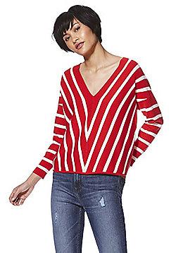 Only Striped V-Neck Jumper - Red & Cream