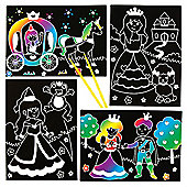 Princess Scratch Art Scenes for Children to Design Make and Display - Creative Picture Craft Set for Kids (Pack of 6)