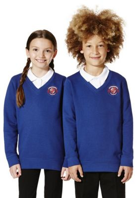 Unisex Embroidered V-Neck School Sweatshirt with As New Technology 3-4 years Bright royal blue