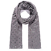 Grey Swallow Irridescent Foil Print Scarf