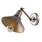 Gladstone Vintage Industrial Style Wall Light, Pewter & Bronze