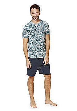 F&F Leaf Print T-Shirt and Shorts Loungewear Set - Grey