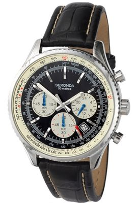 Sekonda Gents Brass Black Leather Strap Chronograph Watch 3408