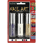 Technic Nail Art Nail Polishes 3 x 6.5ml-Purple, White & Gold