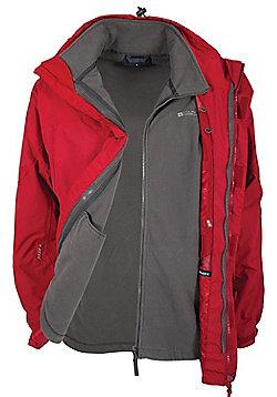 Mens Storm 3 in 1 Waterproof Rainproof Jacket Coat + Fleece - Red