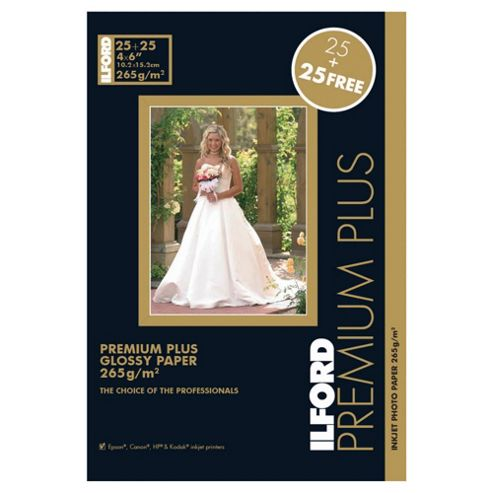 Ilford Premium Plus Gloss 6x4 265gsm 50 sheets 25 plus 25 free