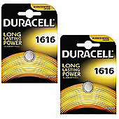 2 x Duracell CR1616 3V Lithium Coin Cell Battery DL1616 1616 BR1616 ECR1616