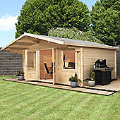 Haven Single Glazed Wooden Log Cabin, 44mm, 13x13ft