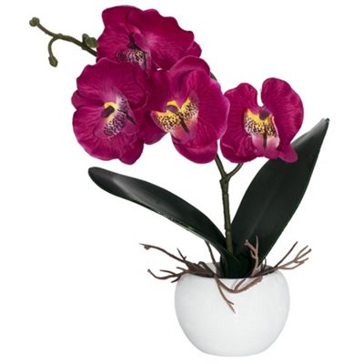 Buy Elegant Artificial Fuschia Pink Orchid In Small Round White Vase