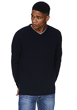 F&F Signature Lambswool V-Neck Jumper - Navy