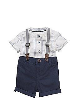 F&F Checked Shirt, Braces and Shorts Set - Multi