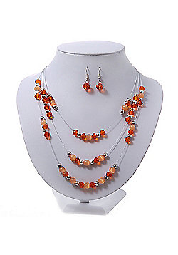 Orange/Peach/Silver Metal Bead Multistrand Floating Necklace & Drop Earrings Set