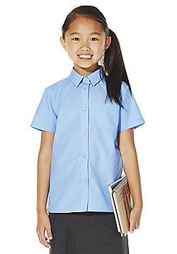 F&F School 2 Pack of Girls Easy Iron Short Sleeve Shirts - Blue