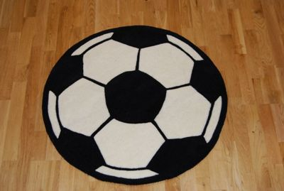 Oriental Carpets & Rugs Hong Kong Football 2054 Black/White Tufted Kids Rug - 85cm L x85cm W