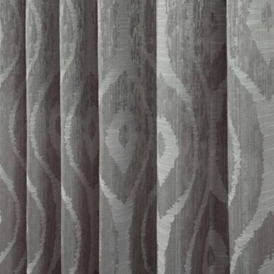 Homescapes Grey Jacquard Curtain Abstract Ikat Design Fully Lined - 90
