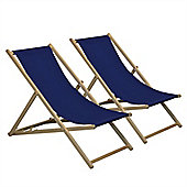 Traditional Adjustable Garden / Beach-style Deck Chair - Navy-Blue - Pack of 2