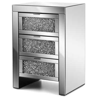Christow Crystal 3 Drawer Mirrored Bedside Cabinet