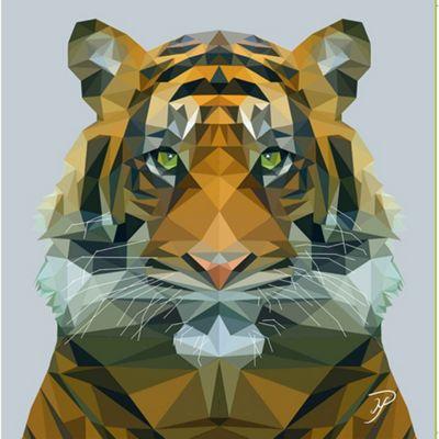 Birthday, Anniversary Greetings Card - Tiger Animal Design - Blank