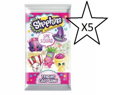 Shopkins Trading Cards Spk Squad - 5 Packs Supplied