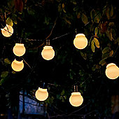 Auraglow Set of 10 Solar String Festoon Lanterns LED Fairy Lights Retro Garden Lamps - White Cover