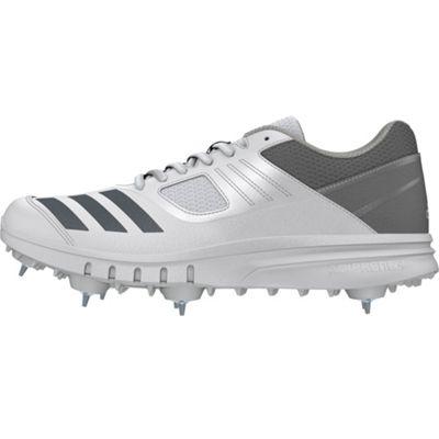 adidas Howzat Mens Adult Cricket Trainer Spike Shoe White/Grey - UK 8