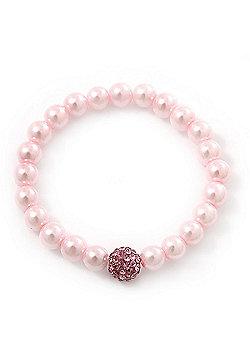 Pale Pink Glass Bead With Pink Swarovski Crystal Ball Flex Bracelet - 18cm Length