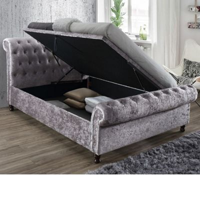 Happy Beds Castello Crushed Velvet Fabric Side Ottoman Storage Bed with Memory Foam Mattress - Steel - 4ft6 Double