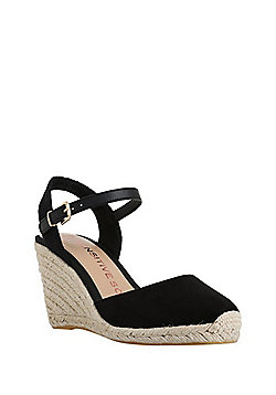F&F Sensitive Sole Closed Toe Wedge Espadrilles - Black