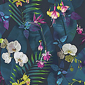 Tropics Pindorama Wallpaper - Navy - Arthouse 690101