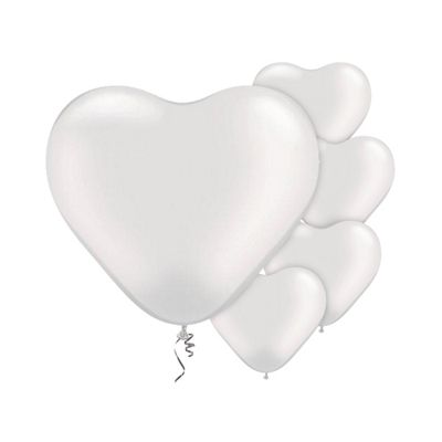 White Heart 6 inch Latex Balloons - 100 Pack