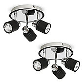 Pair of Benton Three Way Round Ceiling Spotlights, Black & Chrome