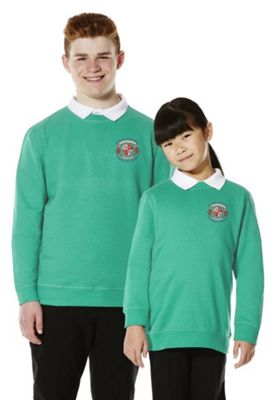 Unisex Embroidered Cotton Blend School Sweatshirt with As New Technology 10-11 years Jade green