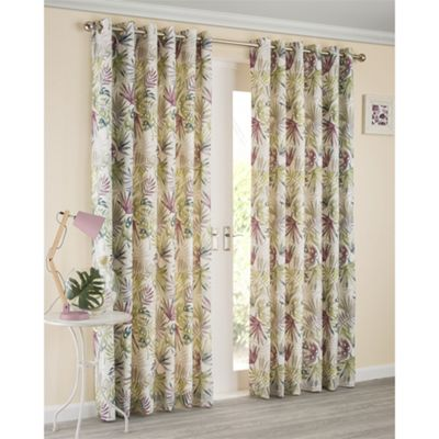 Jungle Heather Eyelet Lined Curtains - 46x54 Inches (117x137cm)