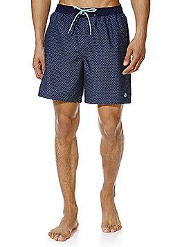 F&F Geo Print Mid Length Swim Shorts - Navy