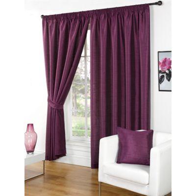 Hamilton McBride Faux Silk Pencil Pleat Aubergine Curtains - 90x72 Inches (229x183cm) Includes Tiebacks