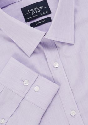 F&F Easy Care Slim Fit Long Sleeve Shirt Lilac 17.5