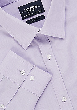 F&F Easy Care Slim Fit Long Sleeve Shirt - Lilac