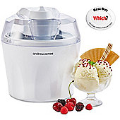 Andrew James Automatic Ice Cream Maker - Fast Freeze Removable 1.5L Bowl - White