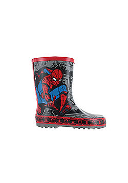 Boys Spiderman Thick Rubber Grey & Red Wellies Rain Boots Sizes UK Infant 7-1 - Red