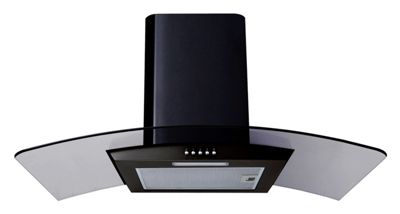 SIA CPL91BL 90cm Curved Glass Black Chimney Cooker Hood Extractor Fan