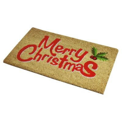 Tesco Red Merry Christmas PVC Coir Mat