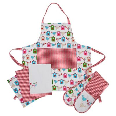 Tweet Kitchen textile Set, Tea towel, Apron & Double Oven Glove