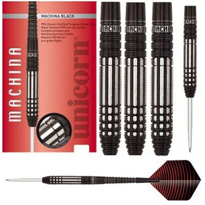 Unicorn Machina Black 90% Tungsten Darts With Midi Dart Wallet 22g