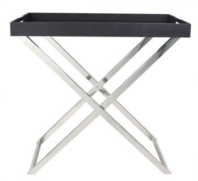 Black Faux Stingray Large Folding Side Table - Removable Tray