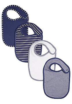 F&F 4 Pack of Striped and Plain Bibs - Navy