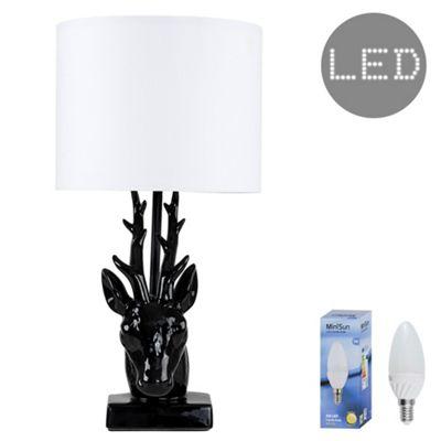48cm Ceramic Stags Head LED Table Lamp - Black & White