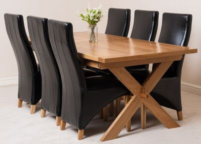 Vermont Solid Oak Extending 200 - 240 cm Dining Table with 6 Black Lola Leather Chairs
