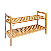 Woodluv 2 Tier Natural Bamboo Shoe Rack